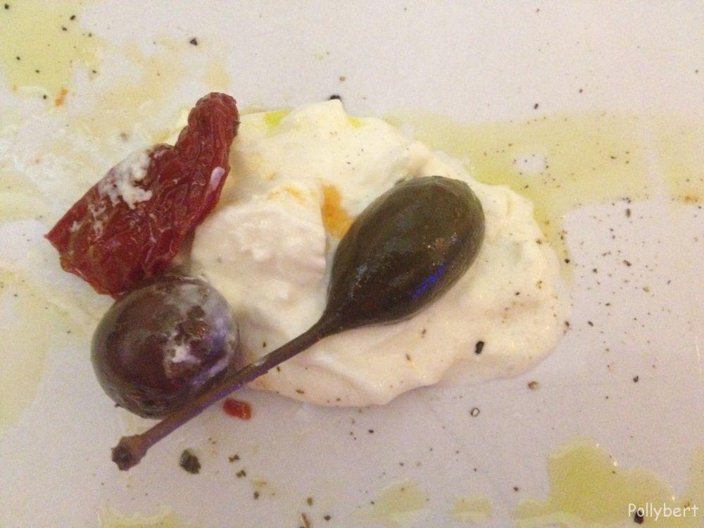 burrata withsun-dried tomato, caper and olive @La Pasteria