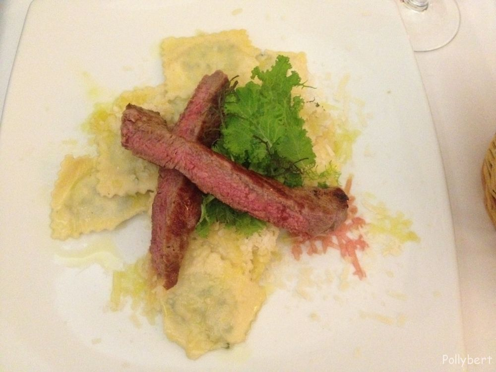 ravioli filled with spinach and ricotta and two slices of sirloin steak @La Pasteria