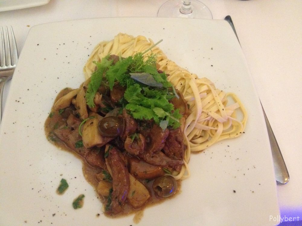 veal liver with porcini, sun-dried tomatoes and olives with tagliolini @La Pasteria