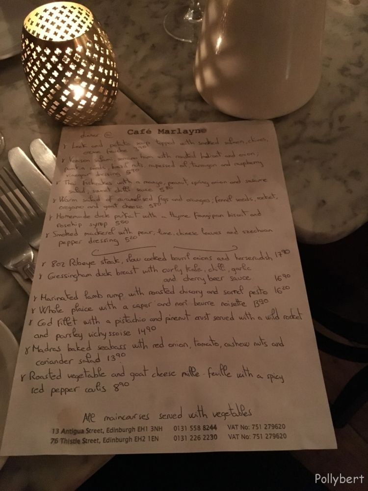 menu @Cafe Marlayne