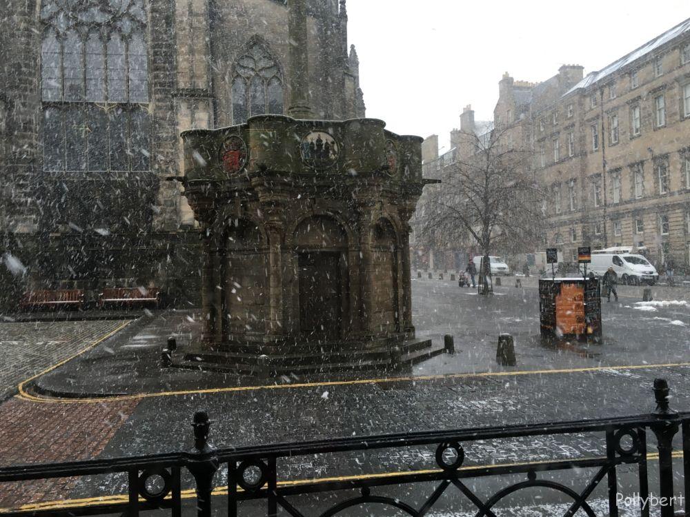 Mercat Cross with snow @Edinburgh, Scotland