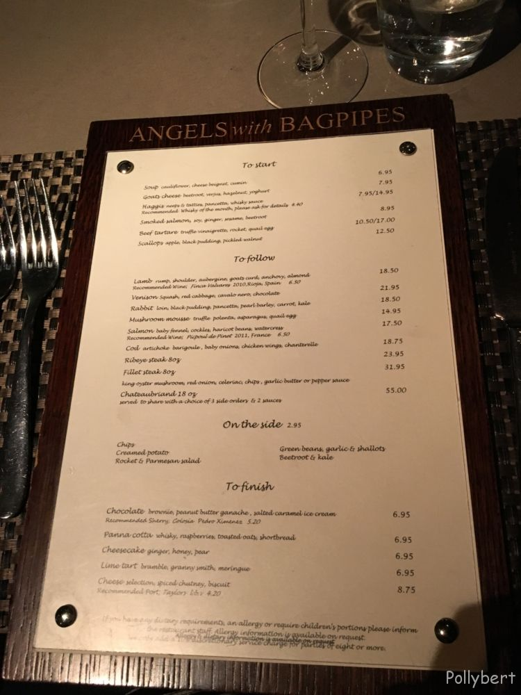 menu @Angels with Bagpipes