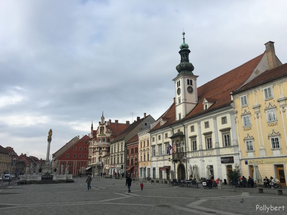 Main Square with town hall, and plague monument @Maribor, Slovenia