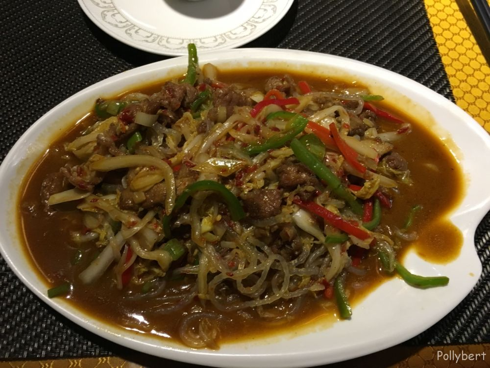 Uyghur food or glass noodles with meat