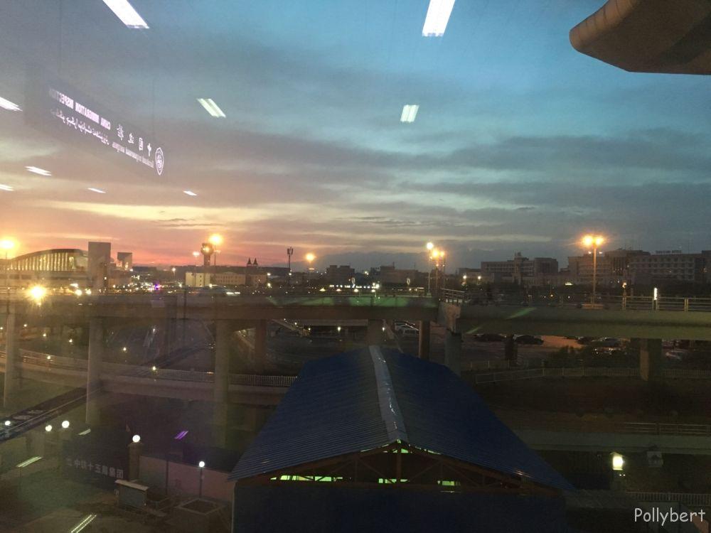 sunrise at the airport Urumqi