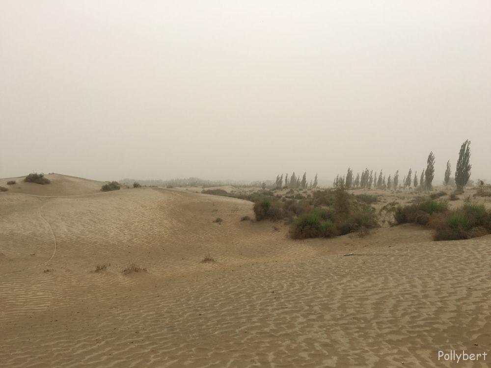 the Taklamakan desert encroaching Hotan