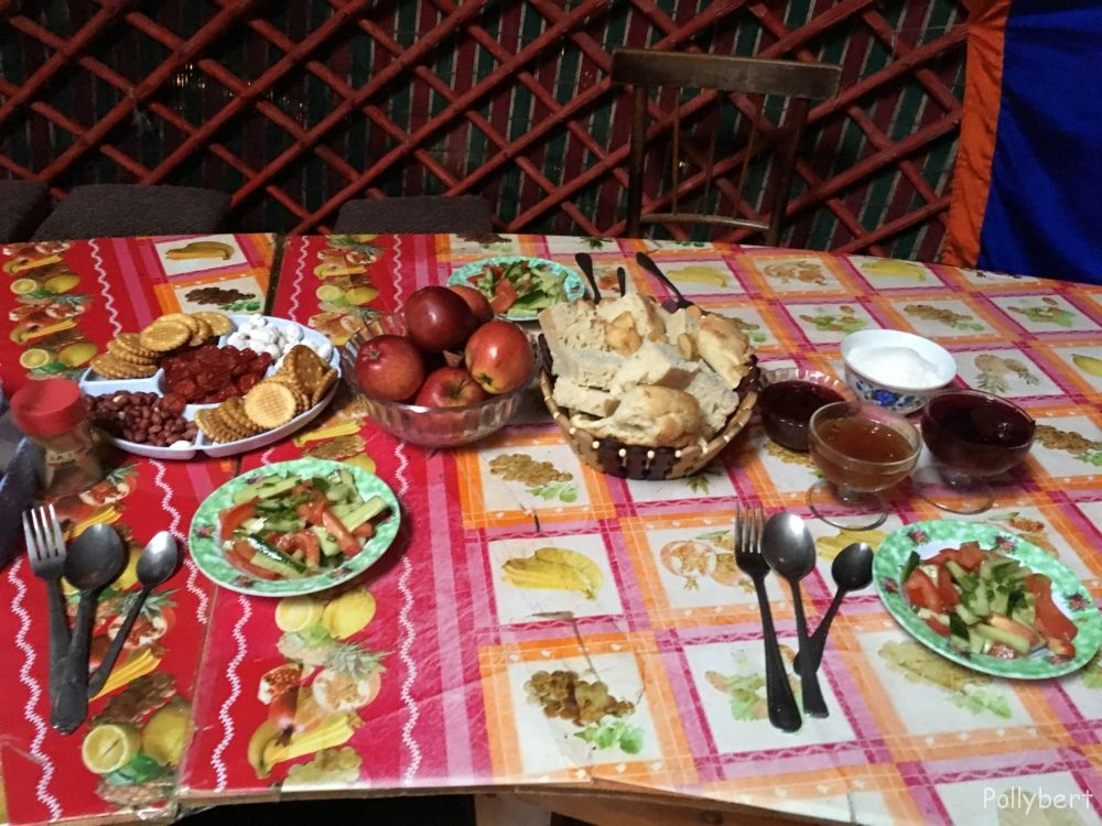 dinner at the yurt camp in Tash Rabat