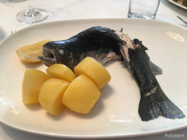 "trout ""blue"" with salt potatoes @Eckel"