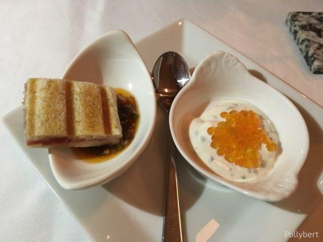 croque monsieur with salami and trout caviar @Gasthaus Freyenstein